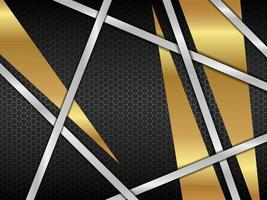 Abstract silver with gold and black modern background vector design