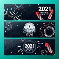 Banners of New Year's Fireworks Party vector