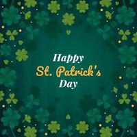 Happy Saint Patricks Day Background Clover Leaves vector