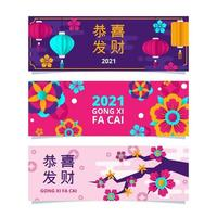 Colorful Gong Xi Fa Cai Banner Set vector
