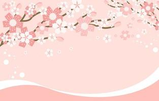 Fondo de marco floral de flor de cerezo abstracto vector