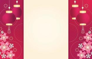 Chinese New Year Festive Background with Cherry Blossom vector