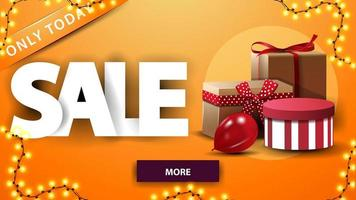 Orange discount banner with garland, gifts and button