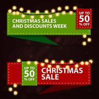Christmas discount banners in the form of ribbons. Red and green templates with Christmas decor