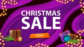 Christmas sale, purple discount banner in paper cut style with button, gift and Christmas tree branch