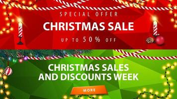 Christmas discount banners. Red and green templates with Christmas decor vector