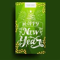 Happy New Year, green vertical greeting card with beautiful lettering vector
