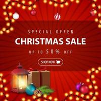 Special offer, Christmas sale, up to 50 off, red discount banner with gift, vintage lantern, Christmas tree branch with a cone and Christmas balls vector
