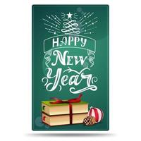 Happy New Year, greeting vertical card with Christmas books, Christmas ball and cone