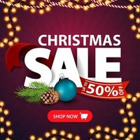 Christmas sale, up to 50 off, square purple discount banner with Large letters, red ribbon, button and Christmas tree branch vector