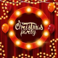cartel de fiesta de Navidad rojo cuadrado con guirnalda, cartel redondo con bombillas y globos vector