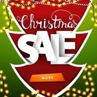 Red and green Christmas discount banner in a paper cut style Christmas tree vector