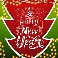 Happy New Year, red and green postcard in paper cut style Christmas tree