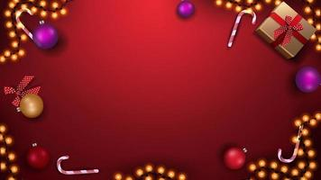 Template for Christmas banner or postcard. Red template with Christmas balls, candy canes, garland and gifts, top view vector