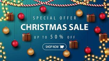 Special offer, Christmas sale, up to 50 off, beautiful discount banner with Christmas decor. Template with wall with Christmas decor