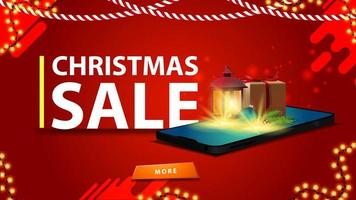 Christmas red discount banner for website with smartphone vector