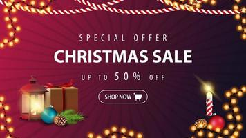 Special offer, Christmas sale, up to 50 off, modern purple discount banner in minimalistic style