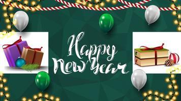 feliz año nuevo, postal de felicitación verde para tu creatividad con regalos de navidad, guirnaldas y globos