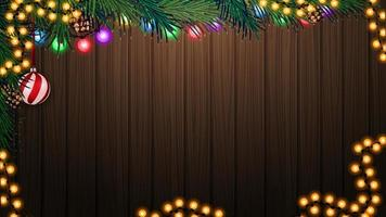Wooden wall with Christmas tree branch and Christmas decor. Background for your arts with copy space vector