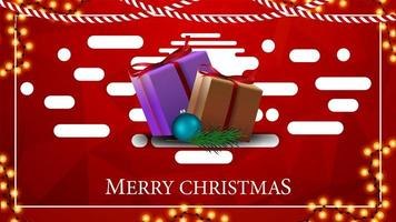 Red modern bright Christmas postcard with polygonal texture and presents
