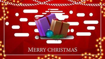 Postal navideña roja moderna y brillante con textura poligonal y regalos