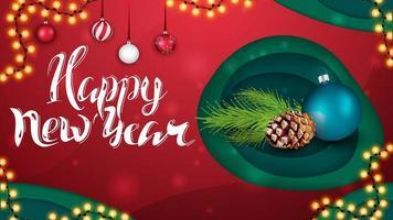 feliz año nuevo, saludo tarjeta roja en estilo de corte de papel con bola de navidad y rama de árbol de navidad vector