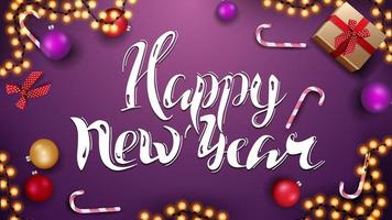 Happy New Year, purple horizontal greeting card with Christmas balls, candy canes, garland and gifts, top view vector