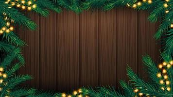 Wooden wall with Christmas tree branches frame and garland. Wooden Christmas background for your arts vector