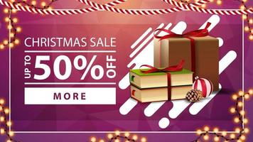 Christmas sale, up to 50 off, pink discount banner Christmas presents