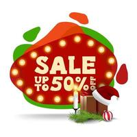 Christmas sale, up to 50 off, modern red discount banner in lava lamp style with gift with Santa Claus hat, candles, Christmas tree branch and Christmas ball