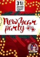 New Year party, red poster for your arts with snow globe, orange garland and Christmas tree branches vector