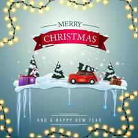 Merry Christmas and a happy New Year, square greeting card with pine winter forest and red vintage car carrying Christmas tree.