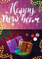 Happy New Year, greeting vertical pink card with presents and Christmas tree branch with Christmas ball