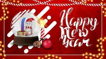 Happy New Year, red postcard with polygonal texture and snow globe with snowmen inside
