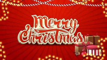 feliz navidad, postal roja con letras, guirnaldas y regalos vector