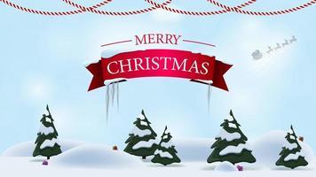 Feliz Navidad, postal de felicitación con paisaje de dibujos animados de invierno en el fondo vector