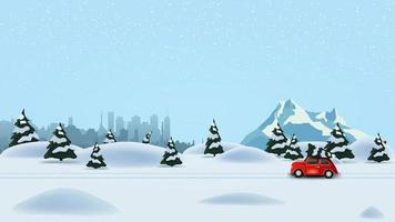 Pine winter forest, silhouette city, snowy mountain and red vintage car carrying Christmas tree