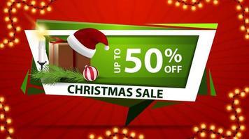 Venta de Navidad, hasta 50 de descuento, banner de descuento verde en forma geométrica.