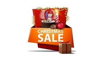 Cartoon discount Christmas banner in the form vertical pointer with presents