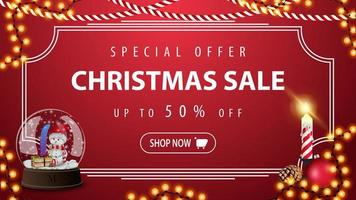 Special offer, Christmas sale, up to 50 off, modern red discount banner in vintage style with snow globe with snowmen and Christmas candle