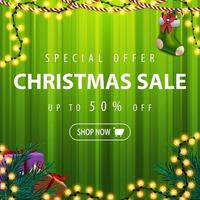 Green Christmas sale tamplate with garland and gifts