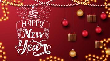 Happy New Year, red postcard with beautiful lettering. Template with Christmas decor