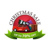 Round Christmas discount banner with red vintage car carrying Christmas tree and presents. Discount banner with green ribbon isolated on white background