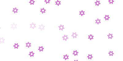 textura de vector violeta, rosa claro con símbolos de enfermedades.