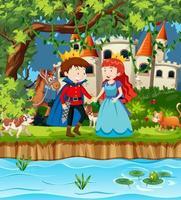 escena con el príncipe y la princesa en el castillo. vector