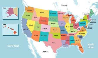 United States of America map with states names vector