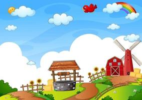 Red barn and windmill in the nature scene vector