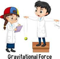 dos científicos haciendo fuerza gravitacional. vector