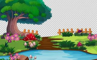 Garden scene with transparent background vector