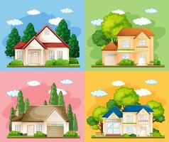 Set of different types of houses on colour background